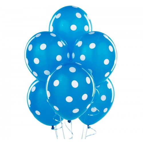 Blue Spotty Balloons 6 Pack - The Ultimate Party Shop