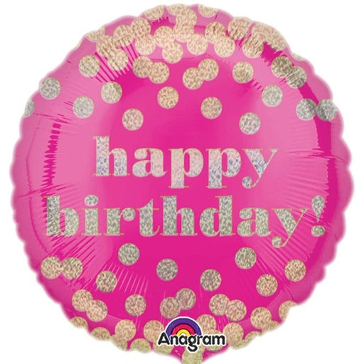 "18"" Foil Happy Birthday Pink/Gold Dots - The Ultimate Balloon & Party Shop"