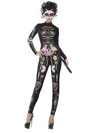 Fever Sugar Skull Catsuit Costume