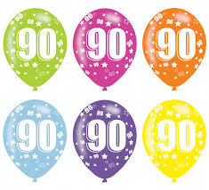 Age 90 Asst Birthday Balloons 6 Pack