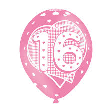 Age 16 Pink Birthday Balloons 6 Pack