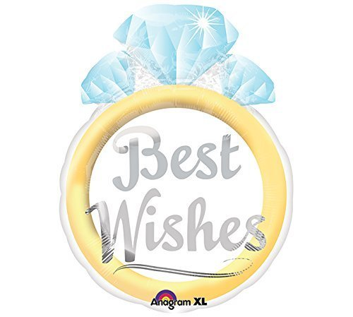 "21"" Foil Best Wishes Wedding Ring Shape Balloon"
