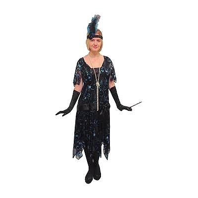 1920s Flapper Dress Hire Costume - Black Sequins - The Ultimate Party Shop