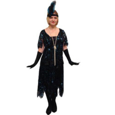 1920s Flapper Dress Hire Costume - Deluxe Black & Blue - The Ultimate Balloon & Party Shop