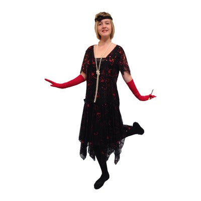 1920s Flapper Dress Hire Costume - Deluxe Black & Red - The Ultimate Balloon & Party Shop