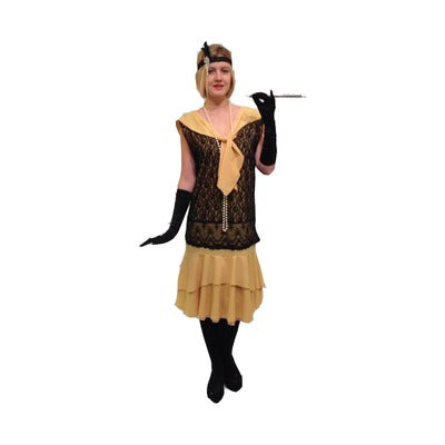 1920s Flapper Dress Hire Costume - Yellow - The Ultimate Party Shop