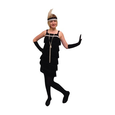 1920s Flapper Fringe Dress Hire Costume - Black