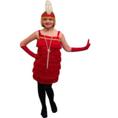 1920s Flapper Fringe Dress Hire Costume - Red - The Ultimate Balloon & Party Shop