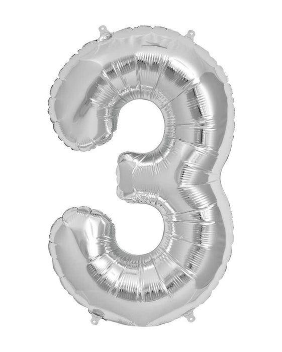 Number 3 Foil Balloon Silver - The Ultimate Balloon & Party Shop