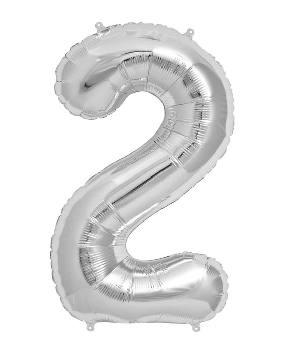 Number 2 Foil Balloon Silver - The Ultimate Party Shop