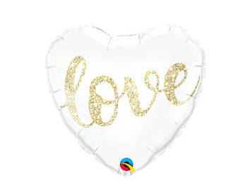 "18"" Foil Love Heart White/Gold Balloon"
