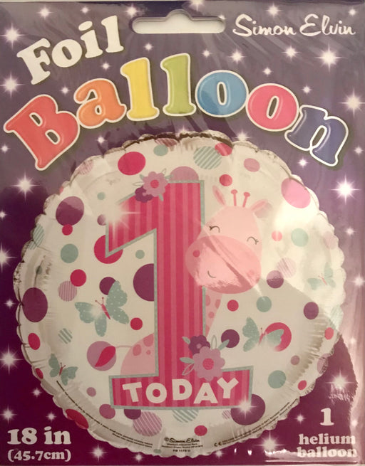 "18"" Foil 1st Birthday Girls Balloon - Giraffe - The Ultimate Balloon & Party Shop"