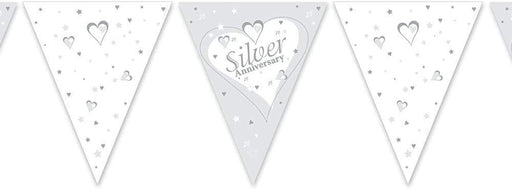 25th Silver Anniversary Bunting - Paper - The Ultimate Balloon & Party Shop