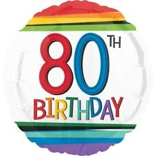 "18"" Foil Age 80 Balloon - Rainbow - The Ultimate Balloon & Party Shop"