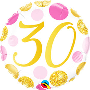 "18"" Foil Age 30 Balloon - Pink/Gold Dots - The Ultimate Balloon & Party Shop"