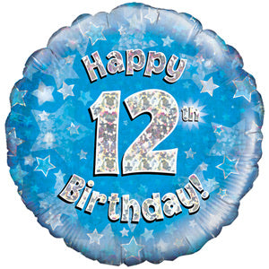 "18"" Foil Age 12 Balloon - Blue - The Ultimate Balloon & Party Shop"
