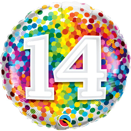 "18"" Foil Age 14 Balloon - Rainbow Burst - The Ultimate Balloon & Party Shop"