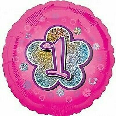 "18"" Foil 1st Birthday Balloon - Pink Glitz - The Ultimate Balloon & Party Shop"