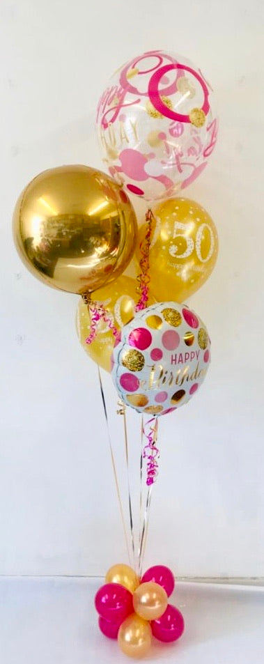 Age Birthday Display Pink/Gold Bundle - The Ultimate Balloon & Party Shop
