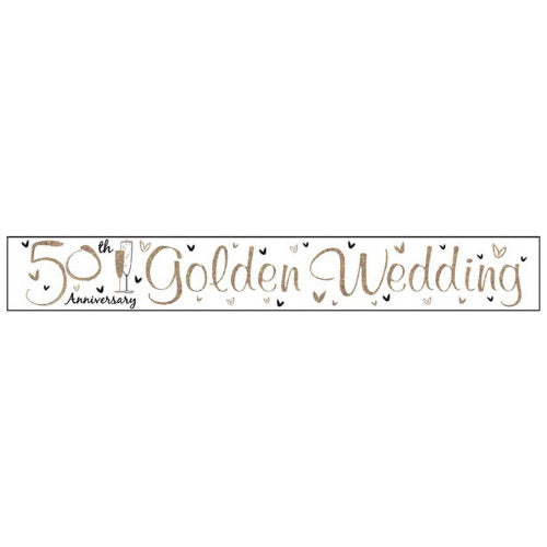 Happy 50th Golden Anniversary Foil Banner - The Ultimate Balloon & Party Shop