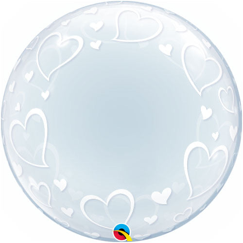 Deco Bubble Clear Balloon -  Hearts Edging - The Ultimate Balloon & Party Shop