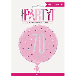 "18"" Foil Age 70 Birthday Balloon - Baby Pink Dots - The Ultimate Balloon & Party Shop"