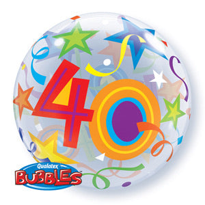 40th Birthday Deco Bubble Balloon -  Bright - The Ultimate Balloon & Party Shop