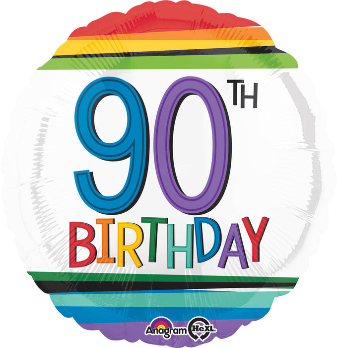 "18"" Foil Age 90 Balloon - Rainbow - The Ultimate Balloon & Party Shop"