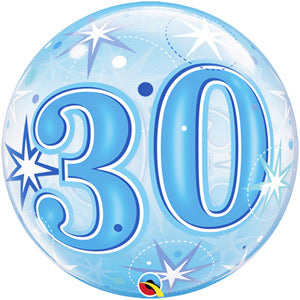 30th Birthday Deco Bubble Balloon -  Blue - The Ultimate Balloon & Party Shop