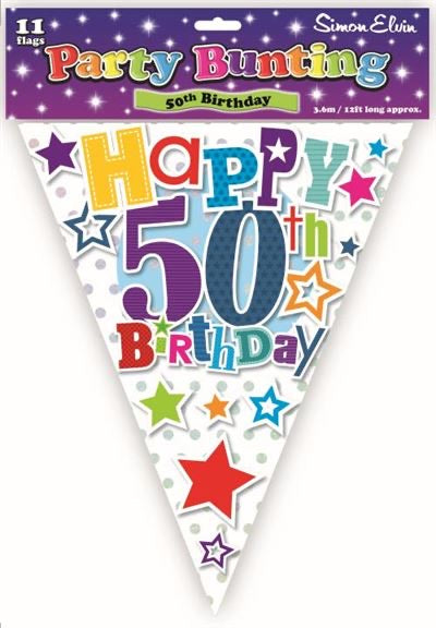 Age 50 Bunting - Bright - The Ultimate Balloon & Party Shop
