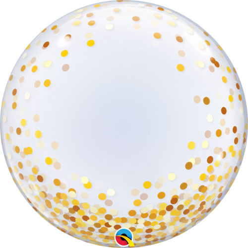 Deco Bubble Clear Balloon -  Gold Confetti - The Ultimate Balloon & Party Shop