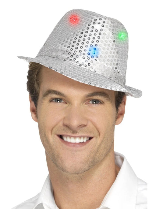 Light Up Sequin Trilby - Silver - The Ultimate Balloon & Party Shop