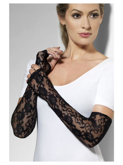 Long Gothic Lace Gloves - Black