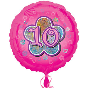 "18"" Foil Age 10 Balloon - Pink"
