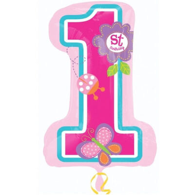 "28"" Foil 1st Birthday Balloon - Pink Super Shape - The Ultimate Balloon & Party Shop"