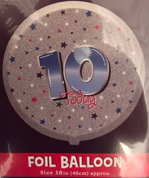 "18"" Foil Age 10 Blue/Silver Balloon - The Ultimate Balloon & Party Shop"