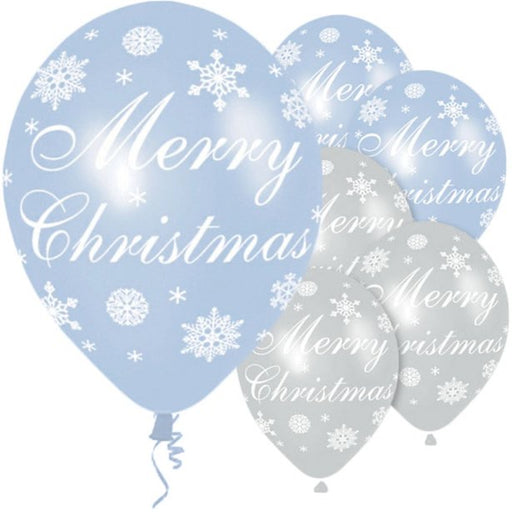 Christmas Latex Balloons - Blue/Silver Snowflakes - The Ultimate Balloon & Party Shop