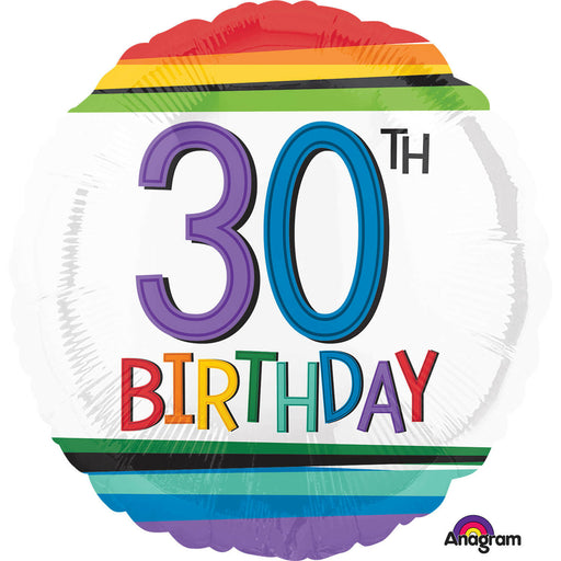"18"" Foil Age 30 Balloon - Rainbow - The Ultimate Balloon & Party Shop"