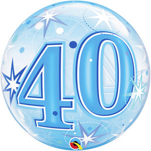 40th Birthday Deco Bubble Balloon -  Blue - The Ultimate Balloon & Party Shop