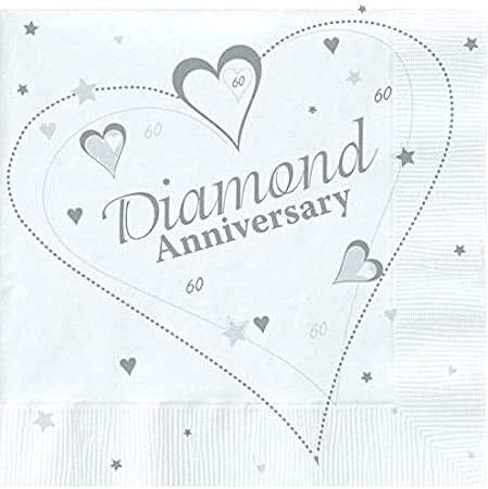 60th Diamond Anniversary Napkins - The Ultimate Balloon & Party Shop