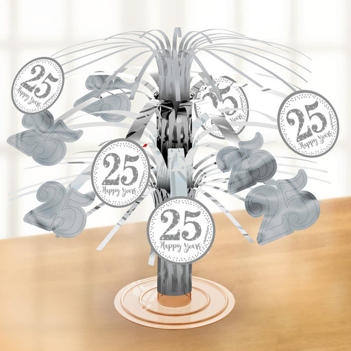 25th Silver Anniversary Cascade Centrepiece - The Ultimate Balloon & Party Shop