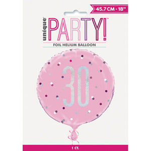 "18"" Foil Age 30 Balloon - Baby Pink Dots - The Ultimate Balloon & Party Shop"
