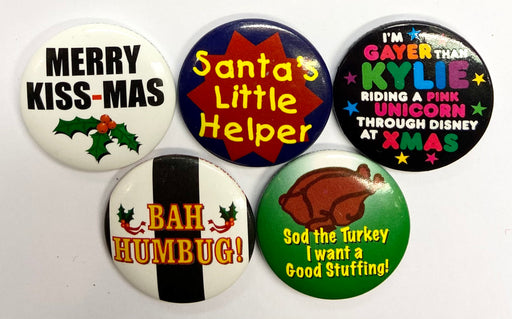 Christmas Badge - Asst 5 Pack - The Ultimate Balloon & Party Shop