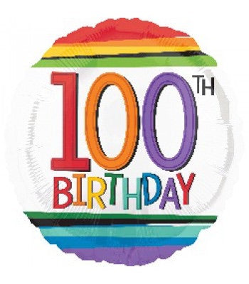 "18"" Foil Age 100 Balloon - Rainbow - The Ultimate Balloon & Party Shop"