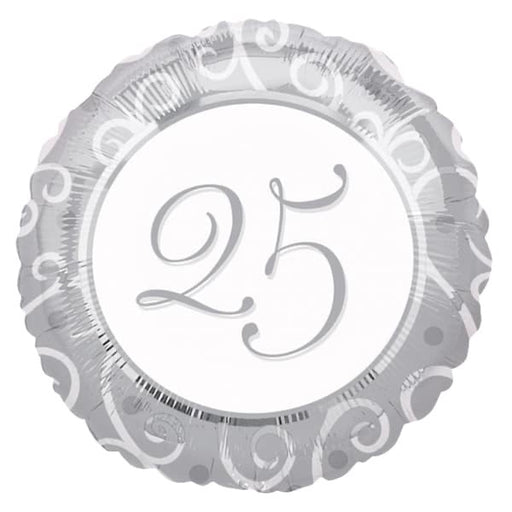 "18"" Foil 25th Silver Anniversary Balloon - Round - The Ultimate Balloon & Party Shop"