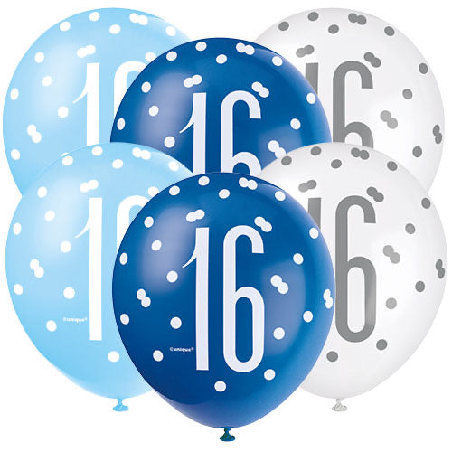 Age 16 Blue Theme Birthday Balloons 6 Pack - The Ultimate Balloon & Party Shop