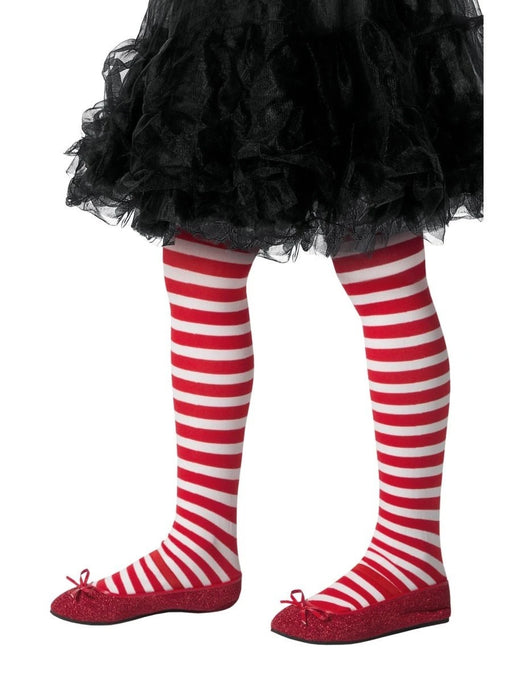 Striped Kids Tights - Red & White - The Ultimate Balloon & Party Shop