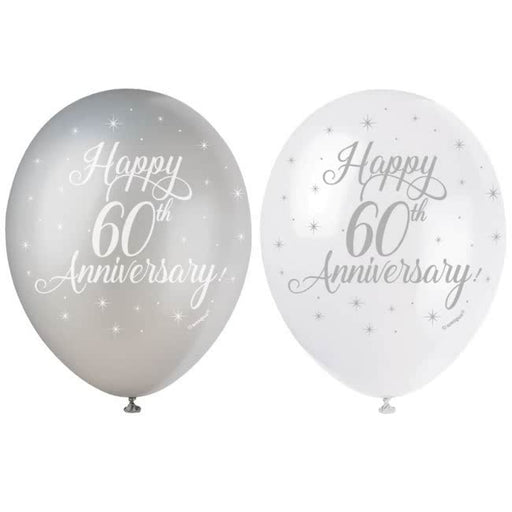 60th Wedding Anniversary Printed Balloons 6 Pack - The Ultimate Balloon & Party Shop