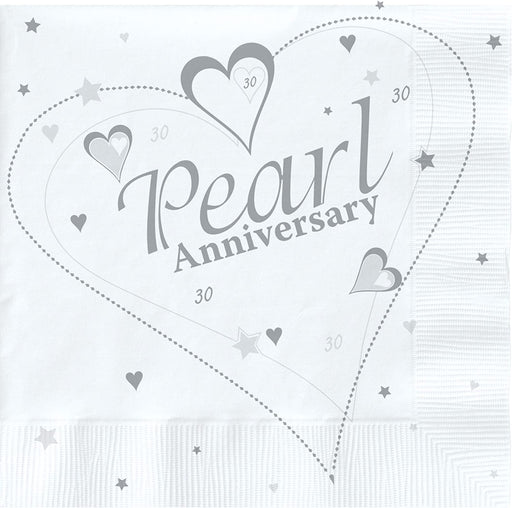 30th Pearl Anniversary Napkins - The Ultimate Balloon & Party Shop
