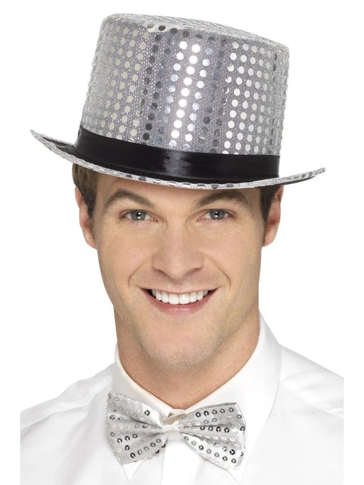 Sequin Top Hat - Silver - The Ultimate Balloon & Party Shop